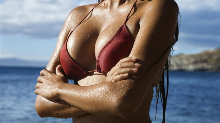 brunette, bikini, beach, bikini top, girl, wet body
