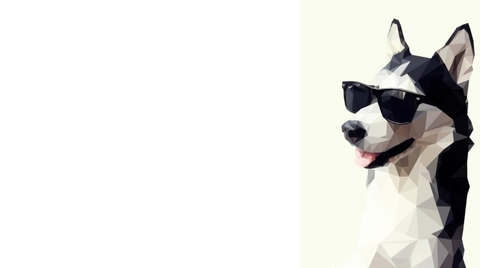 low poly, dog, simple background, animals, sunglasses, artwork, siberian husky