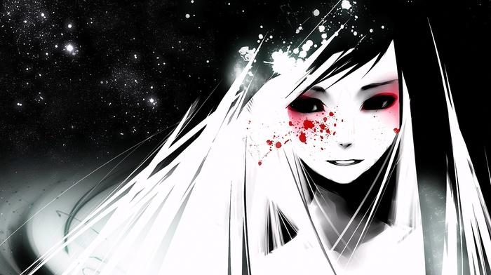 open mouth, anime, long hair, eyes, snow, anime girls, blood