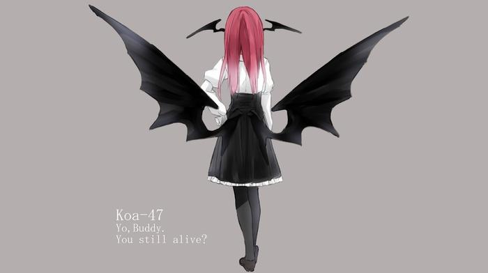 wings, redhead, touhou, skirt, Koakuma