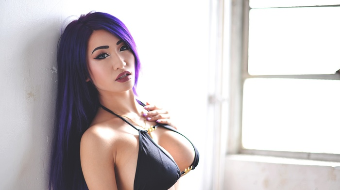 kitty nguyen, long hair, dyed hair, purple hair, portrait, looking at viewer, bikini top, girl, wall, blue eyes, Asian, window