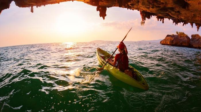 sea, water, kayaks, girl