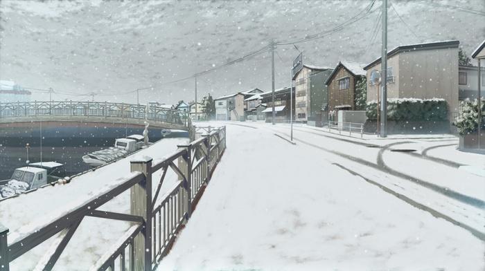 landscape, snow, boat, river, sailing, bridge, harbor, anime