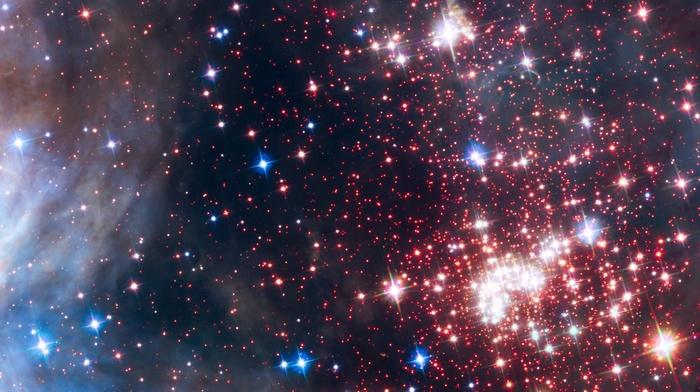 galaxy, space, stars, multiple display, Hubble Deep Field, Westerlund 2, ESA, suns, nebula, triple screen