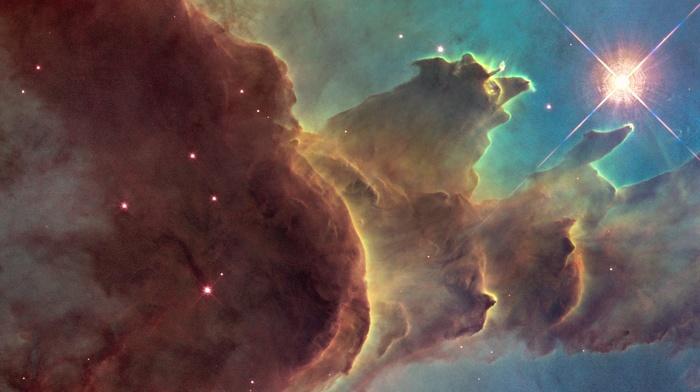 nebula, suns, space, ESA, triple screen, multiple display, Pillars of Creation, stars, galaxy