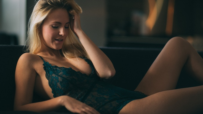 blonde, sideboob, girl, lingerie, closed eyes, lying on back, Thomas Agatz, see, through clothing
