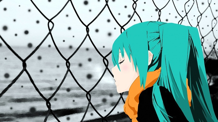 Hatsune Miku, Vocaloid, snow, chain, link, aqua hair, winter, cold, long hair, open mouth, anime, anime girls