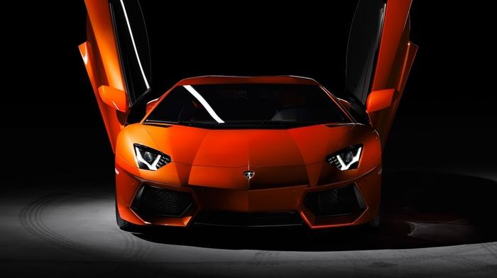 Super Car, Lamborghini Aventador, Lamborghini, car, orange cars