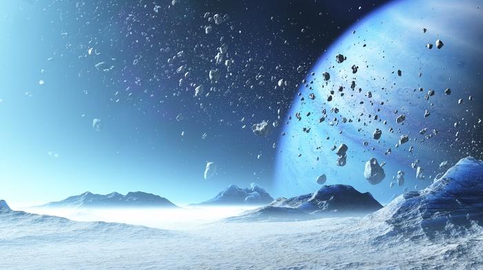 CGI, asteroid, space, planet, ice, digital art
