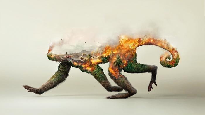 forest, environment, nature, destruction, ecology, animals, monkey, trees, smoke, fire, Double Exposure, digital art, palm trees, artwork