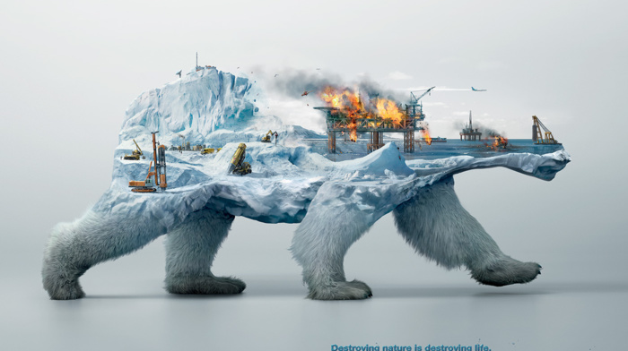 simple background, environment, digital art, animals, Robin Wood, destruction, technology, fire, wildlife, ice, poster, Double Exposure, artwork, snow, polar bears, iceberg, sea, ecology, nature