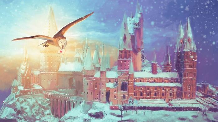 digital art, trees, Hogwarts, castle, architecture, winter, painting, snow, fan art, fantasy art, illustration, owl, tower, nature, rock, birds
