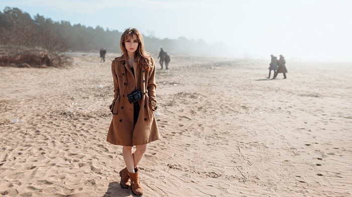 coats, beach, girl, long hair, trench coat, model, camera, Georgy Chernyadyev