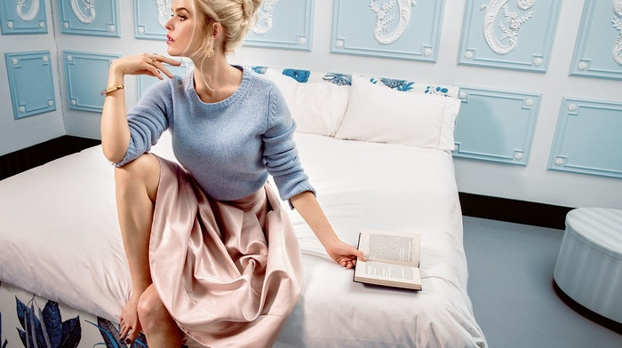 looking away, girl, long hair, sitting, barefoot, bedroom, interior, books, sweater, Alice Eve, skirt, blonde, bed, actress