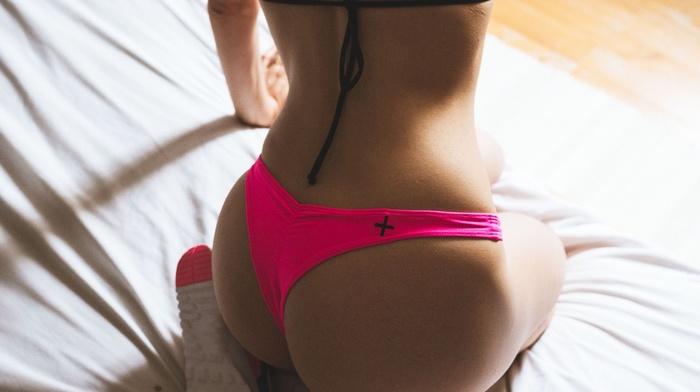 Nike, in bed, ass, model, panties, kneeling, girl