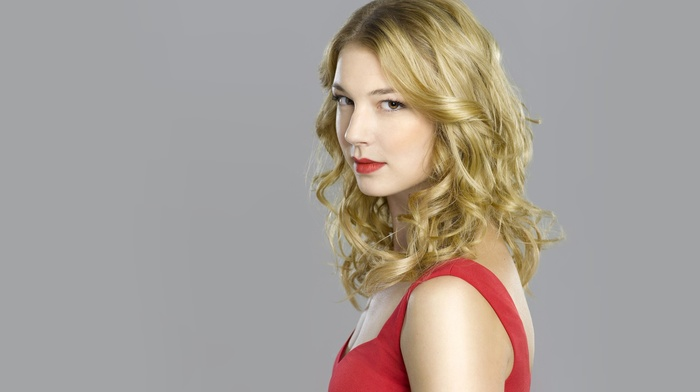 red, Emily Vancamp, simple background, actress, dress, blonde, celebrity