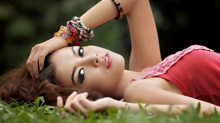 girl outdoors, Asian, model, lying down, long hair, brown eyes, looking at viewer, girl, brunette, face