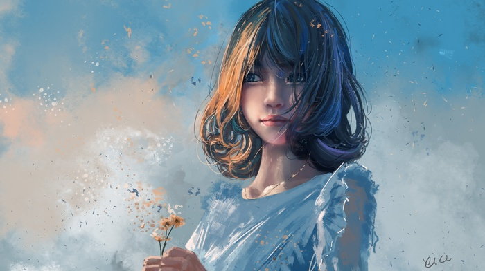 blue eyes, anime, brunette, flowers, anime girls