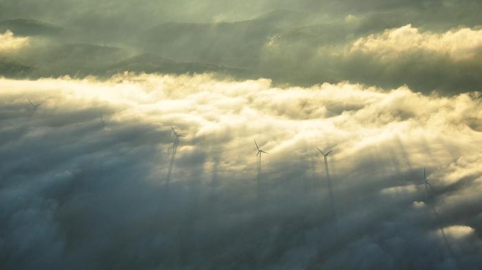clouds, nature, wind turbine, wind