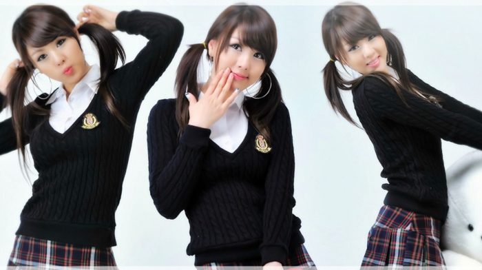 Hwang Mi Hee, collage, brunette, model, Korean, Asian, school uniform, schoolgirl