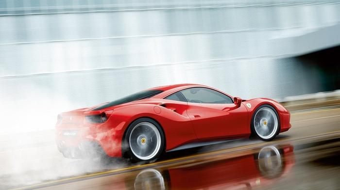 red cars, car, Ferrari, Ferrari 488 GTB