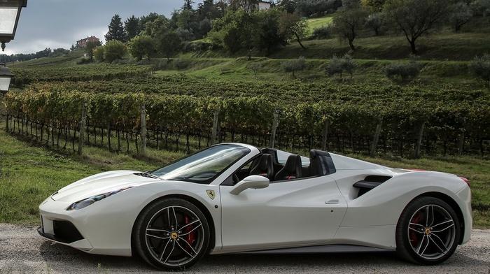 Ferrari, Ferrari 488 GTB, white cars, car