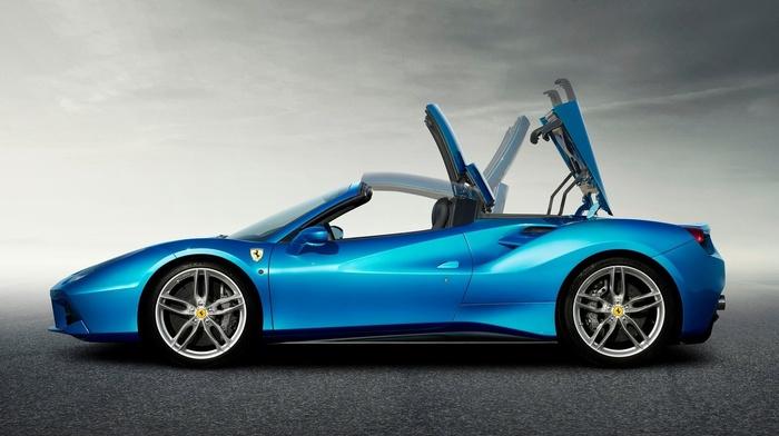 car, blue cars, Ferrari 488 GTB, Ferrari