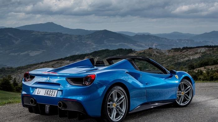 clouds, hills, blue cars, car, Ferrari, Ferrari 488 GTB