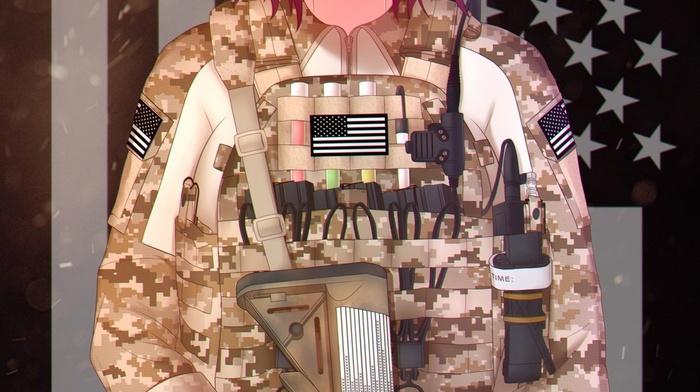 uniform, M16, A4, army girl, anime girls, anime, short hair, redhead