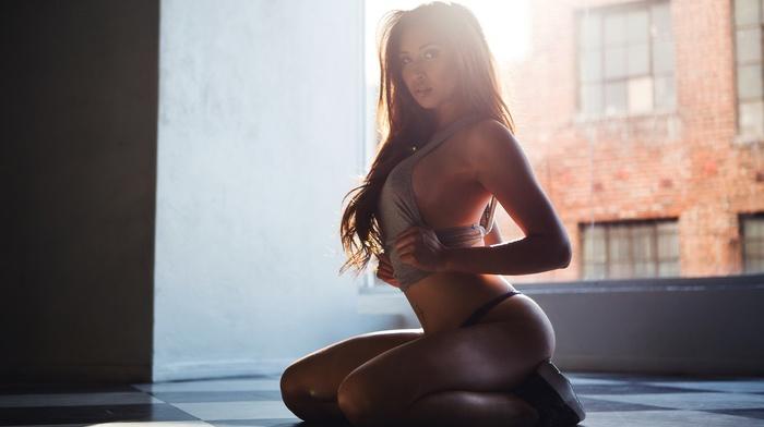 sunlight, model, kneeling, girl