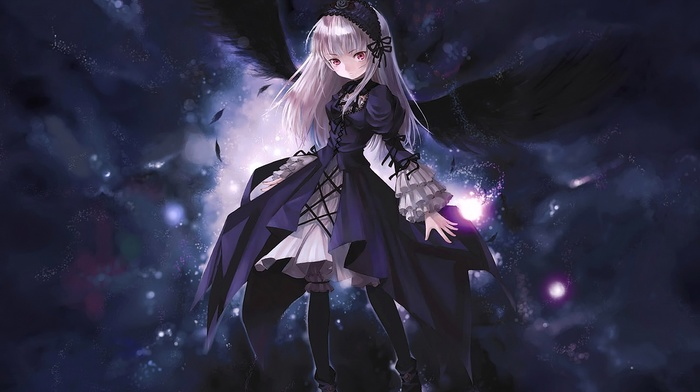 blonde, wings, Suigetsu, anime girls, white hair, long hair, dark, Rozen Maiden, dress, eyes, anime, Suigintou, red eyes