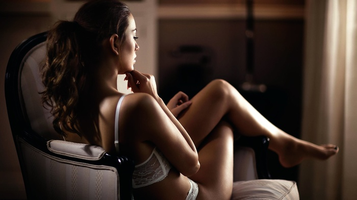 white lingerie, model, chair, girl, brunette, lingerie