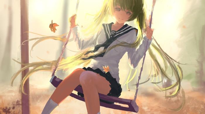 twintails, anime, anime girls, Vocaloid, long hair, skirt, trees, school uniform, sheet, swings, Hatsune Miku