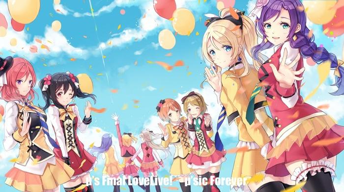 Love Live, Koizumi Hanayo, dress, Sonoda Umi, wink, sky, tears, Yazawa Nico, Hoshizora Rin, Toujou Nozomi, Kousaka Honoka, Ayase Eri, Nishikino Maki, Minami Kotori