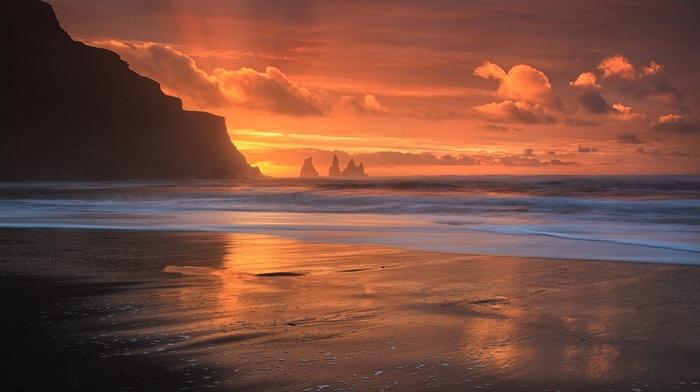 sea, orange, landscape, nature, clouds, sunset, waves, photography
