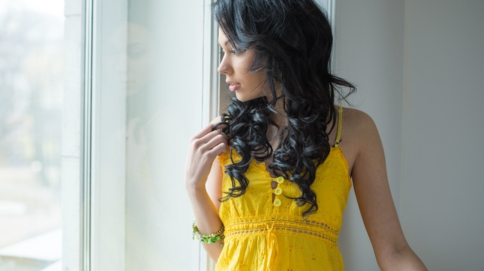 Shery Vi, window, long hair, curly hair, black hair, bare shoulders, yellow dress, profile, open mouth, girl, looking away, model
