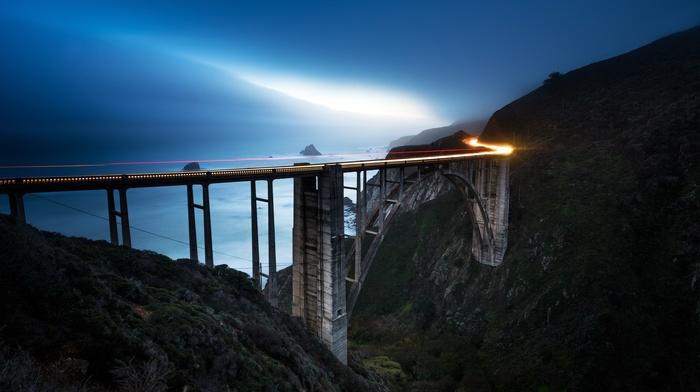mist, lights, bridge, long exposure, landscape, sea, motion blur, mountains