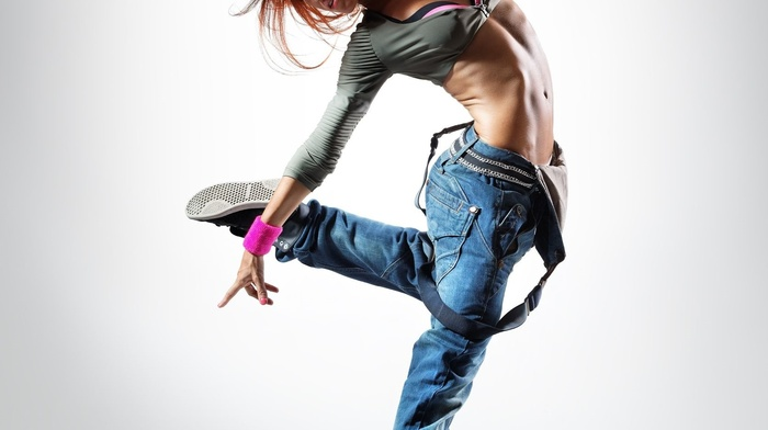 girl, simple background, jumping, dancing, jeans, long hair, model, portrait display, sneakers, redhead