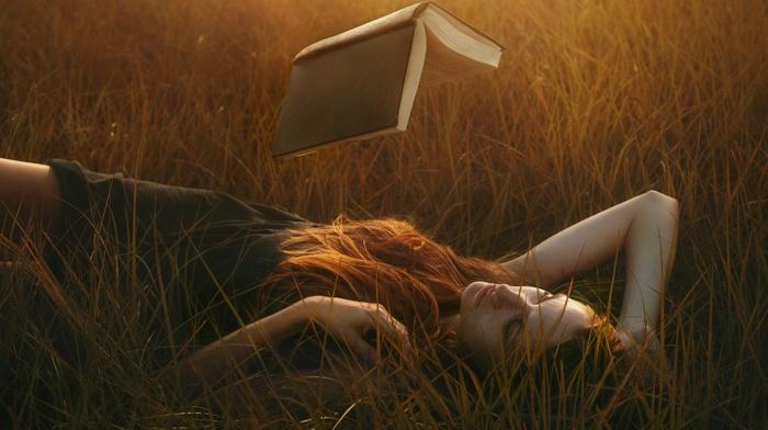 field, magic, black dress, nature, redhead, sunlight, long hair, girl outdoors, photo manipulation, lying on back, girl, model, books, reading, grass