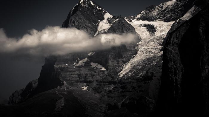 snowy peak, monochrome, clouds, mountains, summit, Swiss Alps, nature, landscape