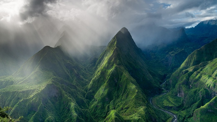 trees, mountains, valley, sun rays, landscape, French, nature, clouds, hills, photography, island
