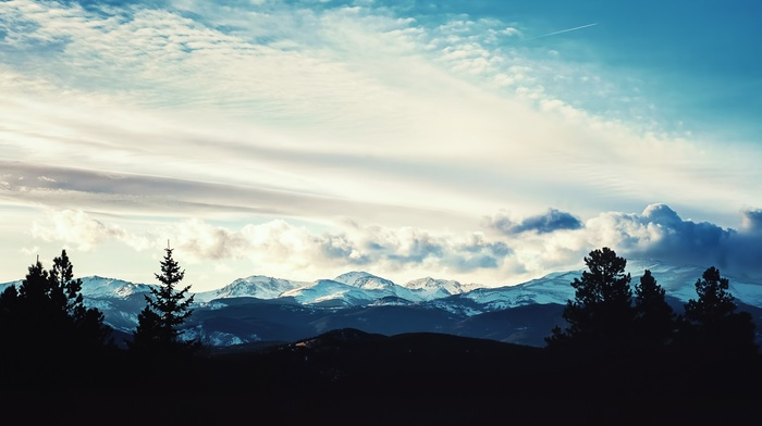silhouette, mountains, photography, landscape, nature, clouds, hills, trees, snowy peak