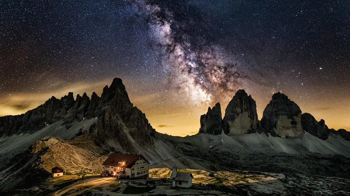 cabin, Dolomites mountains, Italy, mountains, starry night, landscape, galaxy, summer, long exposure, Milky Way, nature