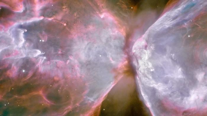 nebula, multiple display, ESA, galaxy, Butterfly Nebula, space, suns, stars, triple screen, Hubble Deep Field