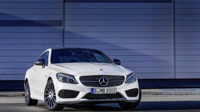 car, Mercedes, Benz C43 AMG, white cars, vehicle