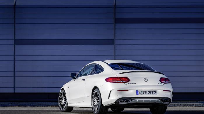 car, vehicle, white cars, Mercedes, Benz C43 AMG