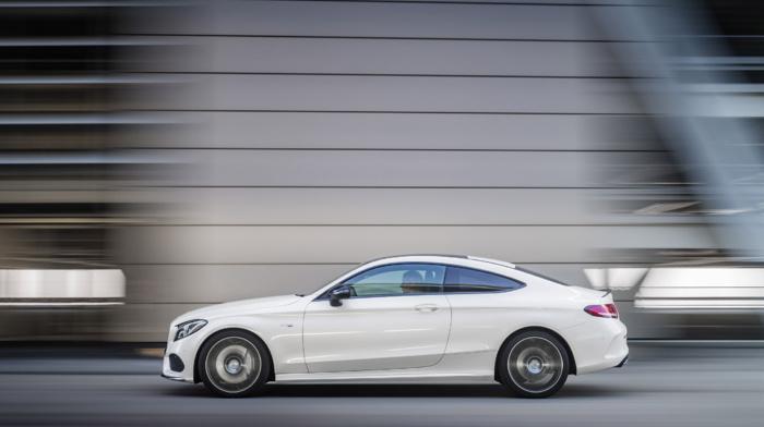car, motion blur, vehicle, white cars, street, Mercedes, Benz C43 AMG