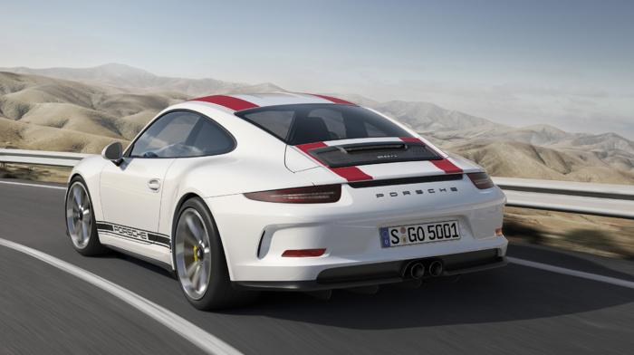 car, white cars, vehicle, Porsche 911R, road, motion blur