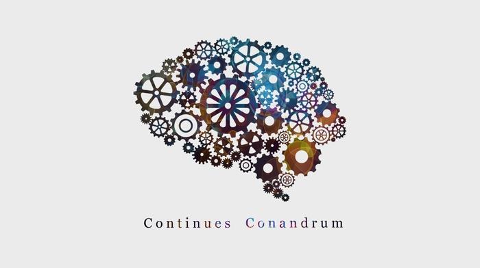 gears, white background, brain