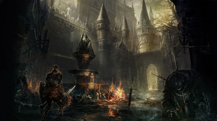 knight, castle, video games, Dark Souls, landscape, fire, fighting, dark, midevil, Dark Souls III, sword, Gothic